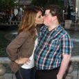 Maria Menounos, la présentatrice américaine embrasse Jesse Heiman à Los Angeles, le 14 février 2013.