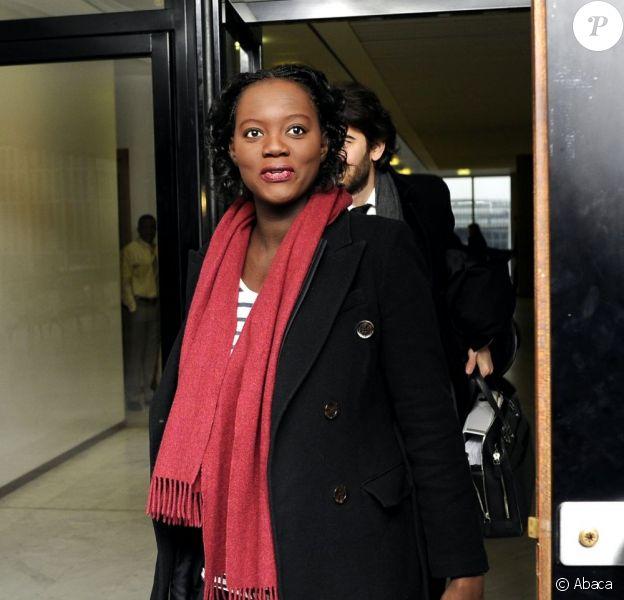 Rama Yade enceinte arrive au tribunal de Nanterre, le 28 février 2013.