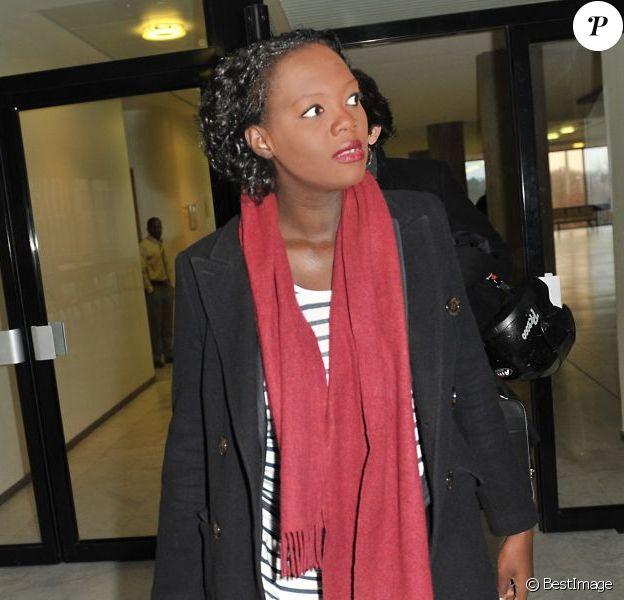 Rama Yade, enceinte, et son avocat Me Antonin Lévy à Nanterre le 28 février 2013. Le représentant du ministère public a réclame 5000 euros d'amende à l'encontre de la prévenue.