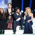 Hélène Ségara, Elodie Frégé, Patrick Bruel et Lara Fabian lors de l'enregistrement de l'émission Hier Encore à l'Olympia (diffusée le 2 mars) à Paris le 10 janvier 2013