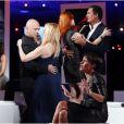 Lara Fabian, Pascal Obispo, Dany Brillant, Axelle Red lors de l'enregistrement de l'émission Hier Encore à l'Olympia (diffusée le 2 mars) à Paris le 10 janvier 2013