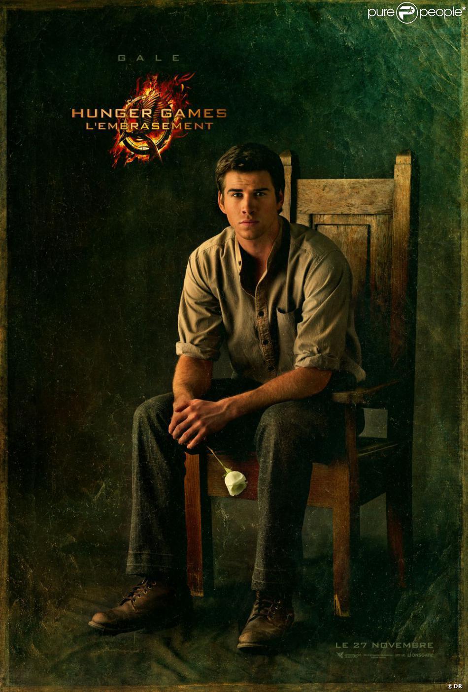 Affiche du film Hunger Games 2 - L'Embrasement avec Gale, incarné par Liam Hemsworth