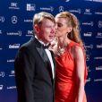Mika Häkkinen et sa compagne Marketa Remesova lors de la soirée des Laureus Awards à Rio de Janeiro le 11 mars 2013
