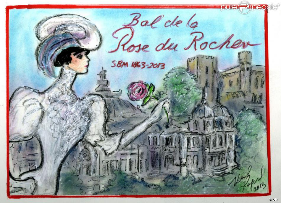 Bal de la Rose du Rocher 2013. Invitation imaginée par Karl Lagerfeld