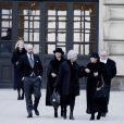 La princesse Christina et Oscar Magnuson lors des funérailles de la princesse Lilian de Suède, le 16 mars 2013 à Stockholm