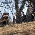 Le prince Carl Philip, la princesse Madeleine, Chris O'Neill lors des funérailles de la princesse Lilian de Suède, le 16 mars 2013 à Stockholm au cimetière du parc Haga