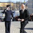 Le premier ministre de Suède Fredrik Reinfeldt lors des funérailles de la princesse Lilian de Suède, le 16 mars 2013 à Stockholm au cimetière du parc Haga