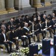 Le prince Daniel, la princesse Victoria, la reine Margrethe, le roi Carl Gustav, la reine Silvia, le prince Carl philipp, la princesse Madeleine et son fiance Chris O'Neill - Funerailles de la princesse Lilian de Suede dans la chapelle royale de Stockholm en Suede.  The funeral of H.R.H. Princess Lilian in the Royal Chapel in Stockholm, Sueden on march 16, 2013. Princess Lilian died March 10, 97 years old. She was born in Swansea, UK, and married to Prince Bertil of Sweden, the King's uncle.16/03/2013 - Stockholm