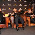 Dave Gahan, Martin Gore et Andy Fletcher du groupe Depeche Mode annoncent leur partenariat avec la marque Hublot en faveur de l'ONG charity : water, à Berlin le 18 mars 2013.