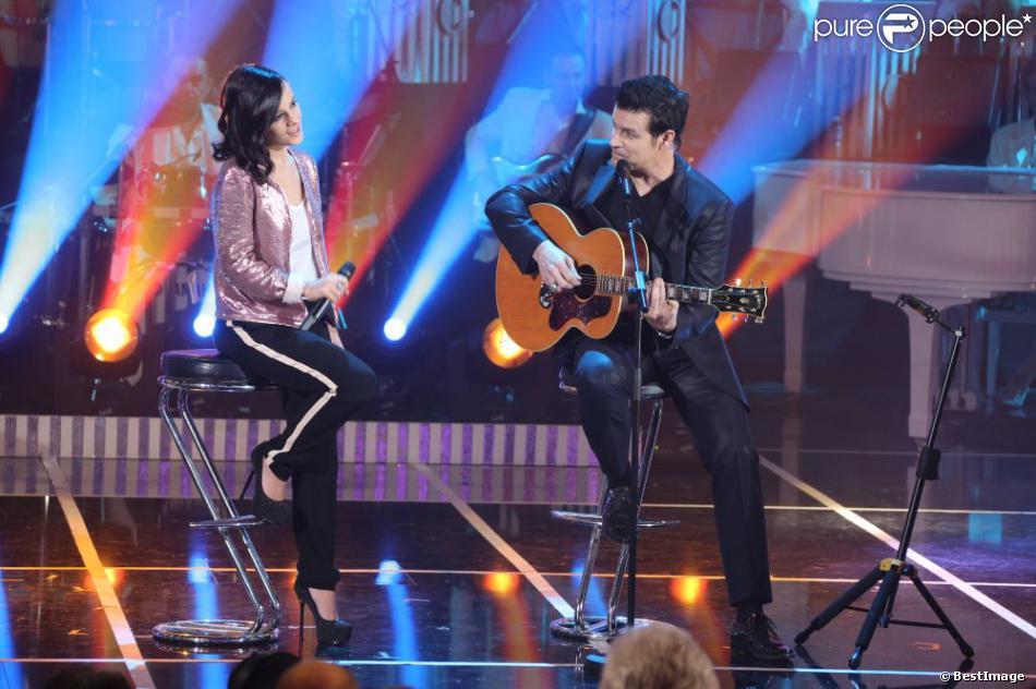Alizée et Roch Voisine lors de l'enregistrement de l'émission Les années bonheur le 11 et le 12 mars 2013 et qui sera diffusée le 13 avril 2013 sur France 2.