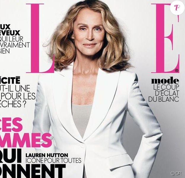 Lauren Hutton entièrement habillée en Giorgio Armani, pose en couverture du numéro 3509 du magazine Elle. Photo : Nicolas Moore.