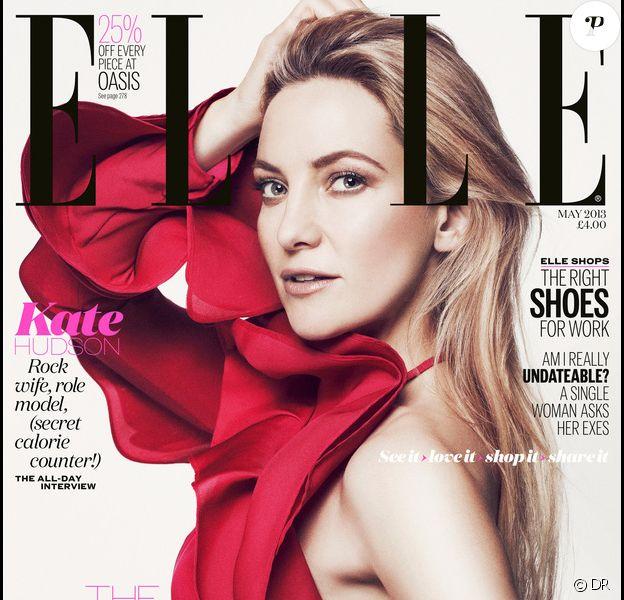 Kate Hudson en couverture du magazine ELLE UK pour le mois de mai 2013.