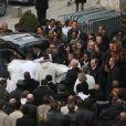 Sortie d'église lors des obsèques de Gérald Babin (candidat de Koh Lanta), à Nemours, le vendredi 5 avril 2013