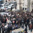 Sortie d'église lors des obsèques de Gérald Babin (candidat de Koh Lanta) qui se sont tenues à Nemours, le vendredi 5 avril 2013