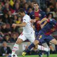 Lucas Moura lors du match entre le Paris Saint-Germain et le FC Barcelone au Camp Nou de Barcelone le 10 avril 2013 en quart de finale de Ligue des Champions (1-1)