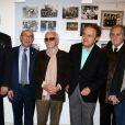 """Georges El Assidi, Jacques Pessis, Charles Aznavour, Guy Béart, Jean-Jacques Debout et Kitty Bécaud - Vernissage de l'exposition """"Trenet : Le Fou chantant de Narbonne à Paris"""" à la Galerie des Bibliothèques à Paris, le 11 avril 2013."""