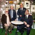"""Charles Aznavour, Jacques Pessis, Georges El Assidi, Karl Zéro - Vernissage de l'exposition """"Trenet : Le Fou chantant de Narbonne à Paris"""" à la Galerie des Bibliothèques à Paris, le 11 avril 2013."""