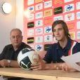 Paul-Noël Ettori, fils de Jean-Luc Ettori et boyfriend de Pauline Ducruet depuis 2011, lors de son arrivée au club de football de Nîmes en 2010.