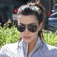 Kim Kardashian, enceinte, arrive aux Tracy Anderson Studios à Los Angeles. Le 16 avril 2013.