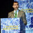 """Le prince Felipe d'Espagne lors de l'inauguration du forum """"7 European Jurists"""" à Barcelone, le 18 avril 2013."""