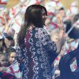 Kate Middleton, enceinte de 6 mois, en visite à l'école The Willows de Wythenshawe, dans la région de Manchester, pour la promotion du programme M-PAC, soutenu par la Fondation du duc et de la duchesse de Cambridge et du prince Harry, mais aussi Place2Be et Action on Addiction, deux associations dont elle assume le patronage.