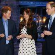 Kate Middleton, enceinte, le prince William et le prince Harry ont plongé avec plaisir dans l'univers de Harry Potter lors de l'inauguration des studios Warner Bros. dans le Hertfordshire le 26 avril 2013.