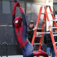 Andrew Garfield en cascade sur le tournage de The Amazing Spider-Man 2 à New York le 28 avril 2013.