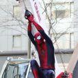Spider-Man sur le tournage de The Amazing Spider-Man 2 à New York le 28 avril 2013.