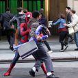 En action sur le tournage de The Amazing Spider-Man 2 à New York le 28 avril 2013.