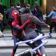 Bagarre en pleine cohue sur le tournage de The Amazing Spider-Man 2 à New York le 28 avril 2013.