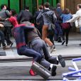 Jamie Foxx plaqué à terre sur le tournage de The Amazing Spider-Man 2 à New York le 28 avril 2013.