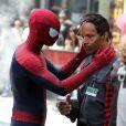 Andrew Garfield avec Jamie Foxx pendant le tournage de The Amazing Spider-Man 2 à New York le 28 avril 2013.