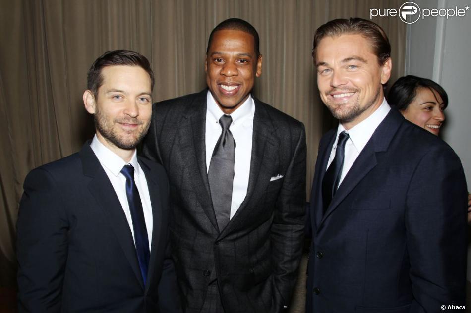 Tobey Maguire, Jay-Z et Leonardo DiCaprio tout sourire lors de la première mondiale de Gatsby le Magnifique au Lincoln Center de New York City, le 1er mai 2013.