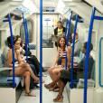 """Des anonymes volontaires étaient ce jeudi 2 mai les stars d'un happening dans le métro londonien pour la campagne Dare to Dip (""""Osez vous baigner"""") de Nivea."""