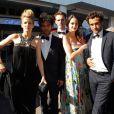 Margot Bancilhon (en robe noire Paul Ka), Vincent Heneine (habillé en The Kooples), Benjamin Wangermee, Noémie Merlant (boucles d'oreilles en or rose collection 4810 et bague princesse Grace de Monaco Montblanc), ainsi que Bartholomew Boutellis pour les 20 ans des Talents de l'Adami lors du 66e Festival de Cannes, le 20 mai 2013.