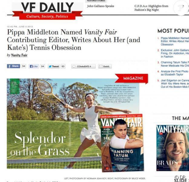 Pippa Middleton dans Vanity Fair US, numéro de juillet 2013 : la soeur de la duchesse de Cambridge devient chroniqueuse sur les passe-temps britanniques pour la revue américaine, et commence par Wimbledon.
