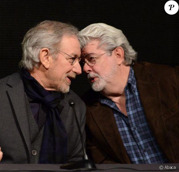 Steven Spielberg et George Lucas à l'USC School of Cinematic Arts de Los Angeles, le 5 février 2013.