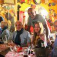 Christian Audigier et sa compagne Nathalie Sorensen ont retrouvé Charles Aznavour à Saint-Rémy-de-Provence au Bistrot de Marie le 17 juin 2013