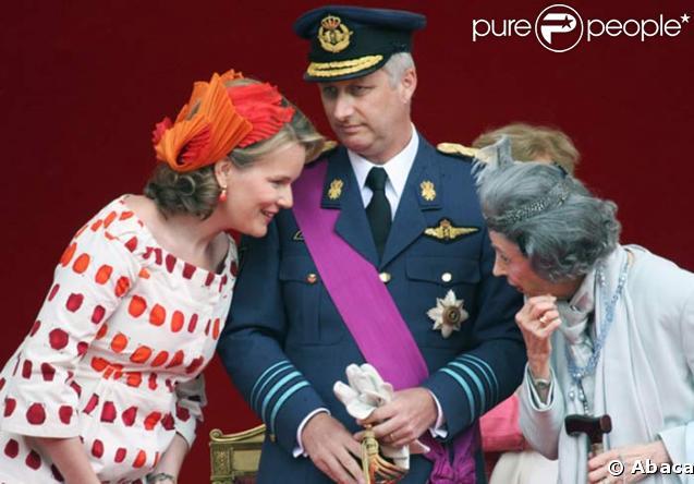 La Princesse Mathilde, le Prince Filip et la Reine Fabiola