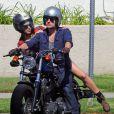 Exclusif - Josh Hutcherson à moto avec sa nouvelle petite amie Claudia Traisac, rencontrée sur le tournage de Paradise Lost, à Los Angeles, le 22 juin 2013