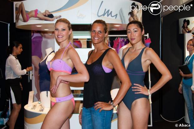 Laure Manaudou fière de présenter sa collection de maillots de bain baptisée 'Laure Manaudou Design' (ou LM Design) à l'occasion du salon Mode City Paris 2013. Le 6 juillet 2013