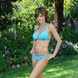 La comédienne Lisa Rinna dans son bikini bleu à une poop party, à Beverly Hills, le 5 juillet 2013