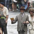 Sophia Loren sur le tournage de La Voix humaine, adaptation de l'oeuvre de Jean Cocteau, sous la direction de son fils Edoardo Ponti, à Venise le 8 juillet 2013 : l'actrice italienne donne la réplique à l'acteur Enrico Lo Verso