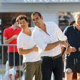 David Marouani et Cédric Pioline lors du tournoi de pétanque organisé à l'occasion de la 3ème édition du Classic Tennis Tour, sur la place des Lices à Saint-Tropez le 11 juillet 2013