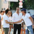 David Marouani, Cédric Pioline et David Ginola lors du tournoi de pétanque organisé à l'occasion de la 3ème édition du Classic Tennis Tour, sur la place des Lices à Saint-Tropez le 11 juillet 2013