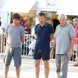 Fabrice Santoro, Stéphane Courbit, Christian Bimes lors du tournoi de pétanque organisé à l'occasion de la 3ème édition du Classic Tennis Tour, sur la place des Lices à Saint-Tropez le 11 juillet 2013