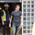 Exclusif - Gordon Ramsay, accompagné de David et Victoria Beckham, quitte un site de construction dans le sud de Londres, le 12 juillet 2013. Il se pourrait que les Beckham aient décidé d'investir dans un restaurant.