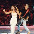 Céline Dion et Jean-Jacques Goldman au concert de la chanteuse au Stade de France, le 20 juin 1999.