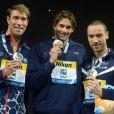 Camille Lacourt a décroché le titre mondial sur 50 m dos devant son pote Jérémy Stravius, ex aequo avec l'Américain Matt Grevers le 4 août 2013 au Palau Sant Jordi de Barcelone