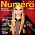 Rosie Huntington-Whiteley, habillée d'une robe Gucci, pose en couverture du magazine Numéro Tokyo. Septembre 2013.